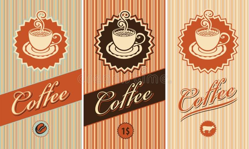 Set Kennsätze für Kaffee lizenzfreie abbildung