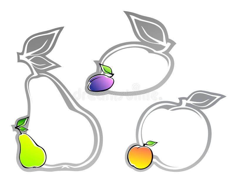 Set Kennsätze mit Früchten lizenzfreie abbildung