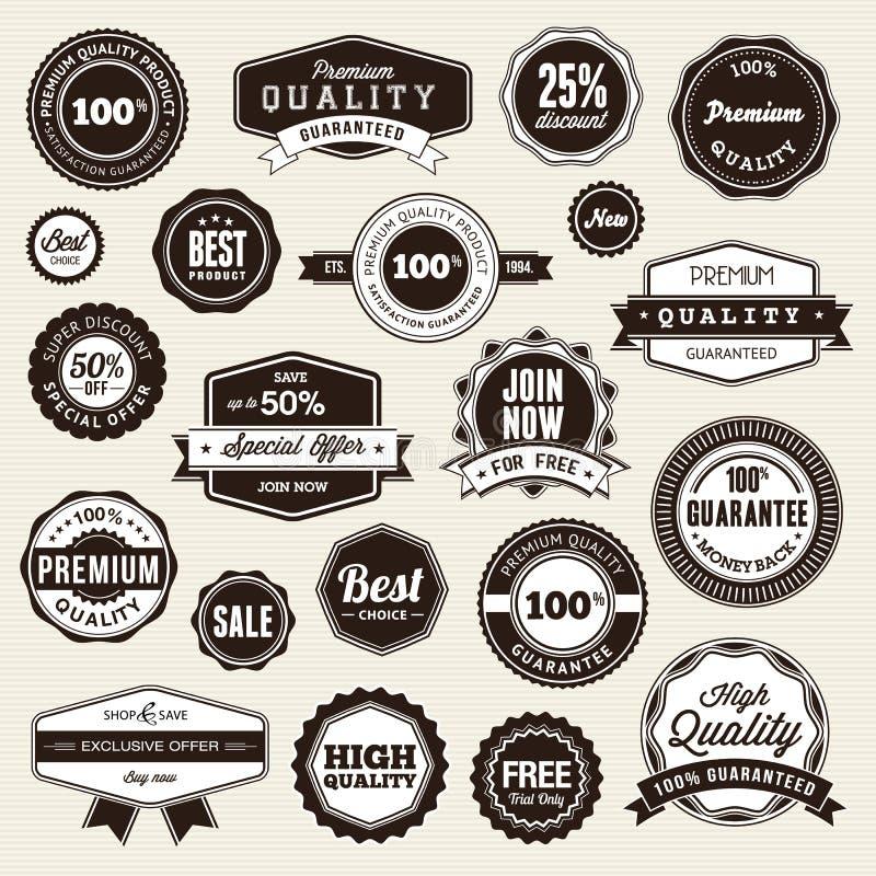 Set Kennsätze und Aufkleber lizenzfreie abbildung