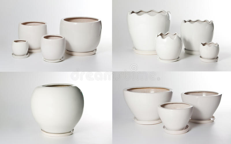 Set keramische Flowerpots lizenzfreie stockfotografie