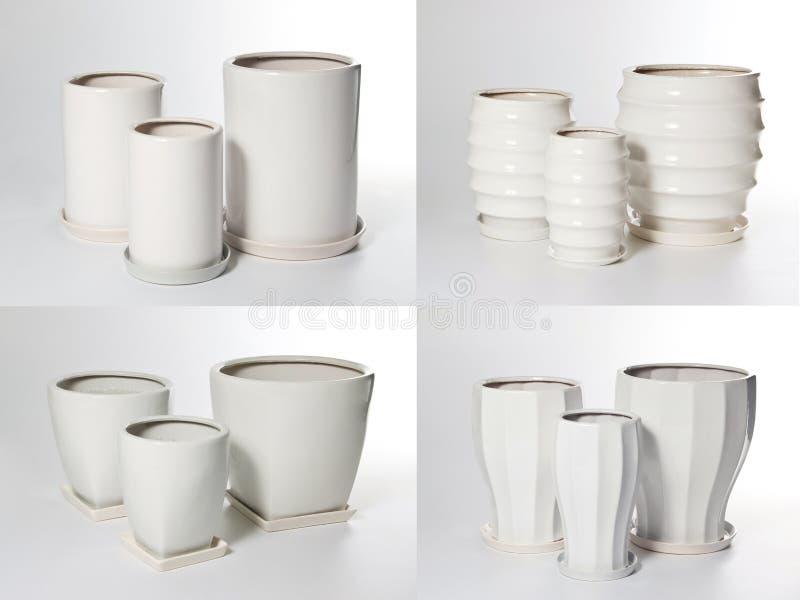 Set keramische Flowerpots stockfotos