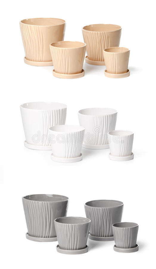 Set keramische Flowerpots für Innenanlagen lizenzfreie stockfotografie