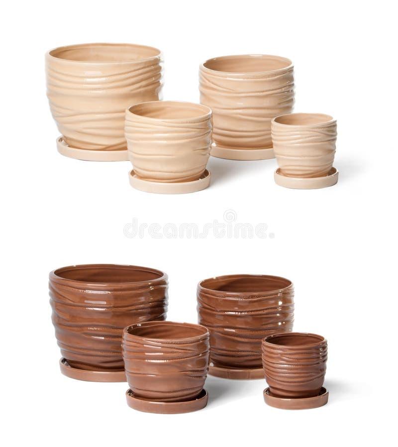 Set keramische Flowerpots für Innenanlagen stockbilder