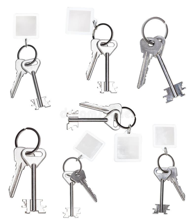 Set of keys on keyring isolated on white. Background royalty free stock photography