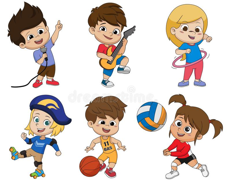 Set of kid activity,kid sings a song,playing a guitar,playing hula hoop,playing roller skates,playing a basketball,playing volley. Ball.vector and illustration vector illustration
