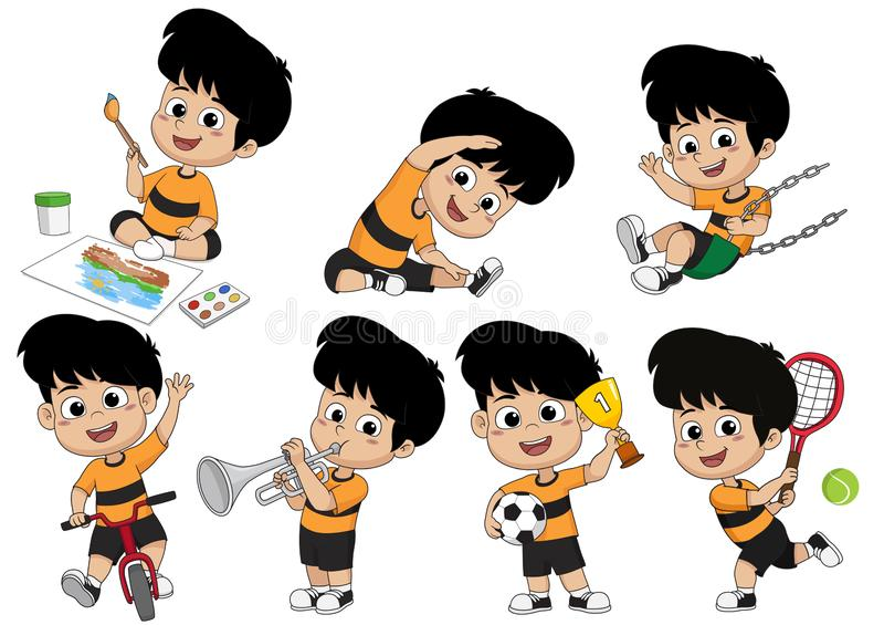 Set of kid activity,kid painting a picture,doing an exercise,playing a tennis,riding a bicycle,playing a trumpet, playing a swing,. Playing a soccer.Vector and royalty free illustration
