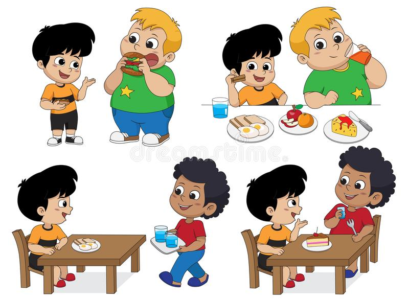 Set of Kid eating delicious food with friends.Vector. And illustration royalty free illustration