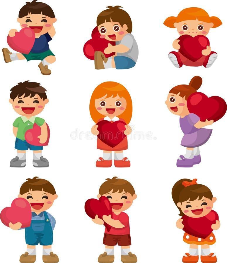 Set Of Kid Hug Heart Royalty Free Stock Photo