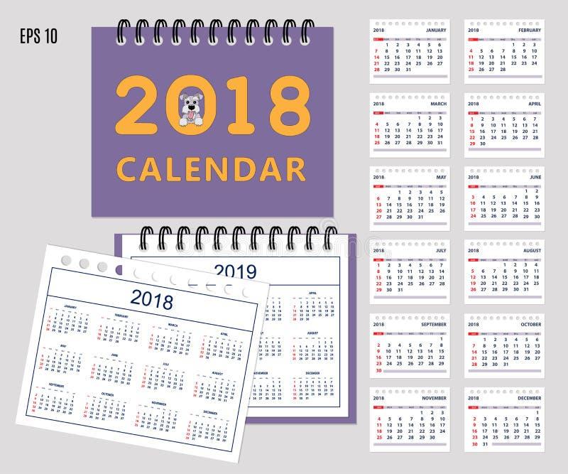 Kids calendar for wall or desk year 2018, 2019 vector illustration