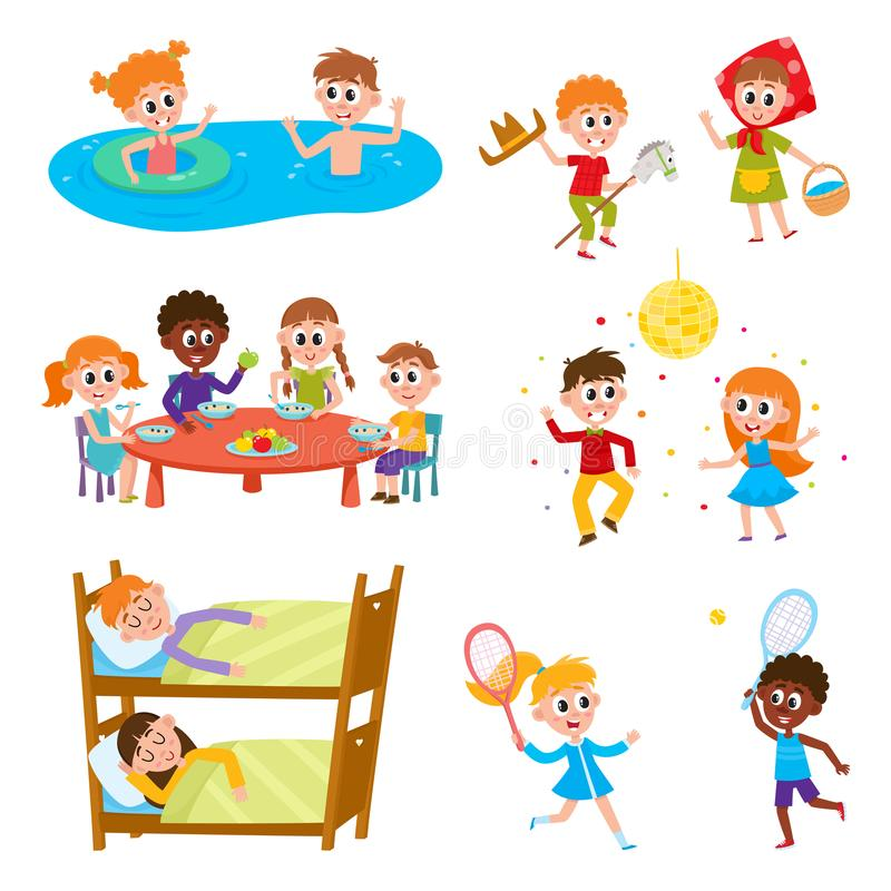 Cartoon set of kids on vacation in summer camp. Set of kids, boys and girls on vacation in summer camp - eating, sleeping, playing, swimming, dancing, sleeping royalty free illustration