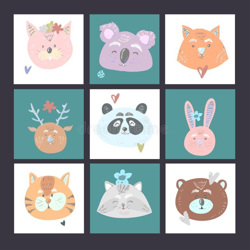Set of 9 kids cards with cat koala fox deer bear bunny tiger panda raccoon for baby shower or birthday. Vector hand royalty free illustration