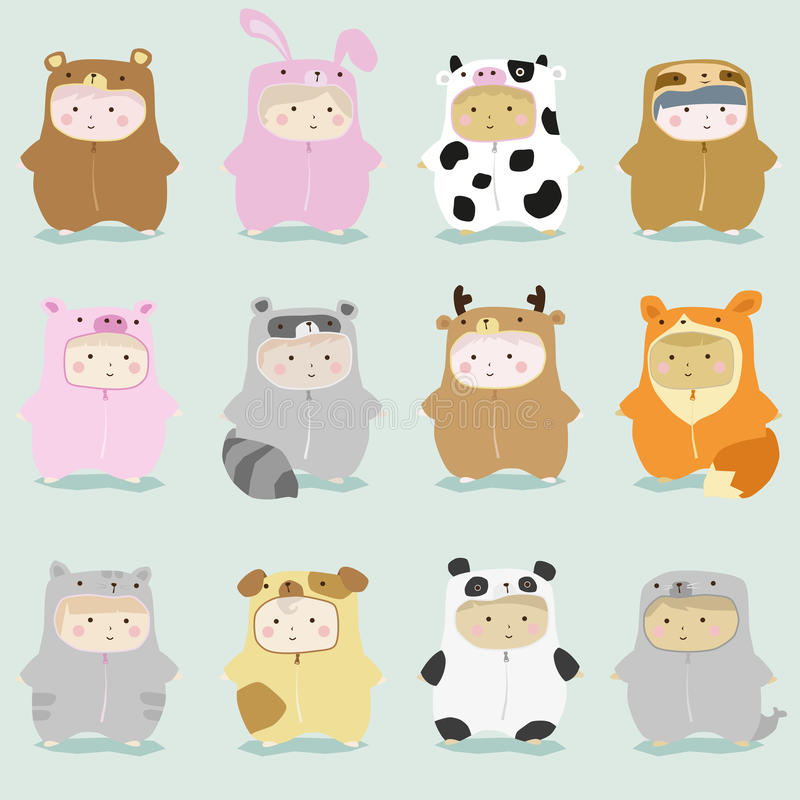 Set of kids in cute animal costumes 1. Vector , illustration royalty free illustration