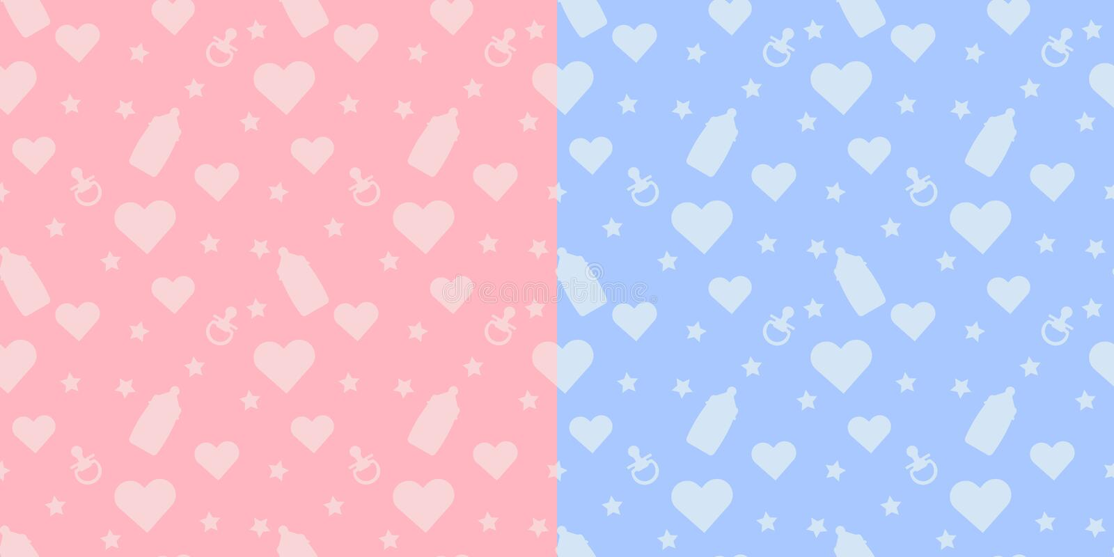 Set kids cute  seamless pattern with shapes of baby bottle, pacifier, heart on blue and pink background stock illustration