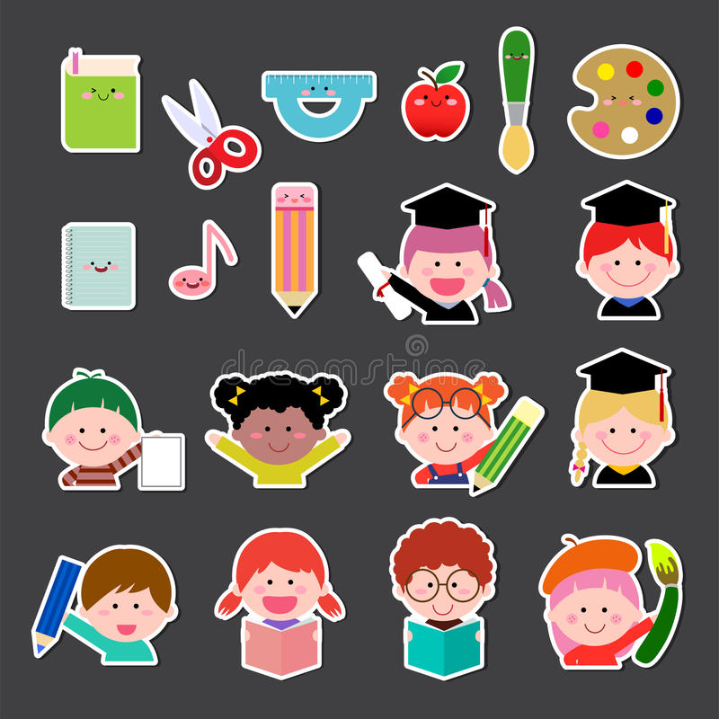 Set of kids and education icon. Vector illustration set of kids and education icon royalty free illustration