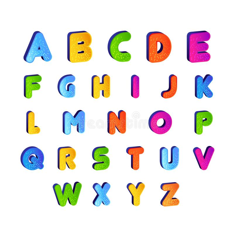set of Kids font alphabet vector in colorful design. Cartoon Alphabetical letters for baby stock illustration