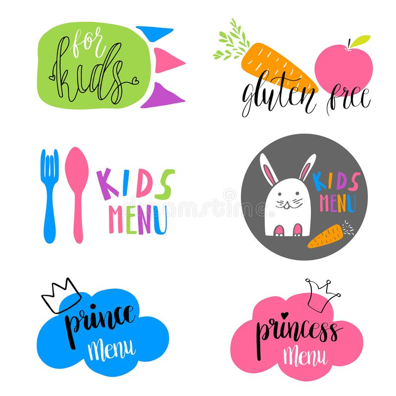 Set of Kids menu logos for cafe or restaurant. Funny design for kids and baby food. Stickers, labels, tags design royalty free illustration