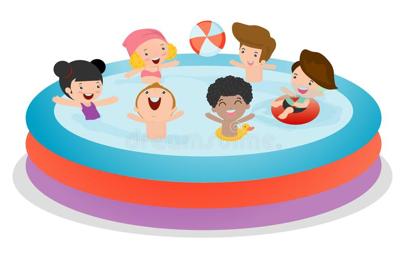 Set of Kids in a Swimming Pool, children for summer season. kids playing on the beach and swimming in the pool. Vector Illustration royalty free illustration