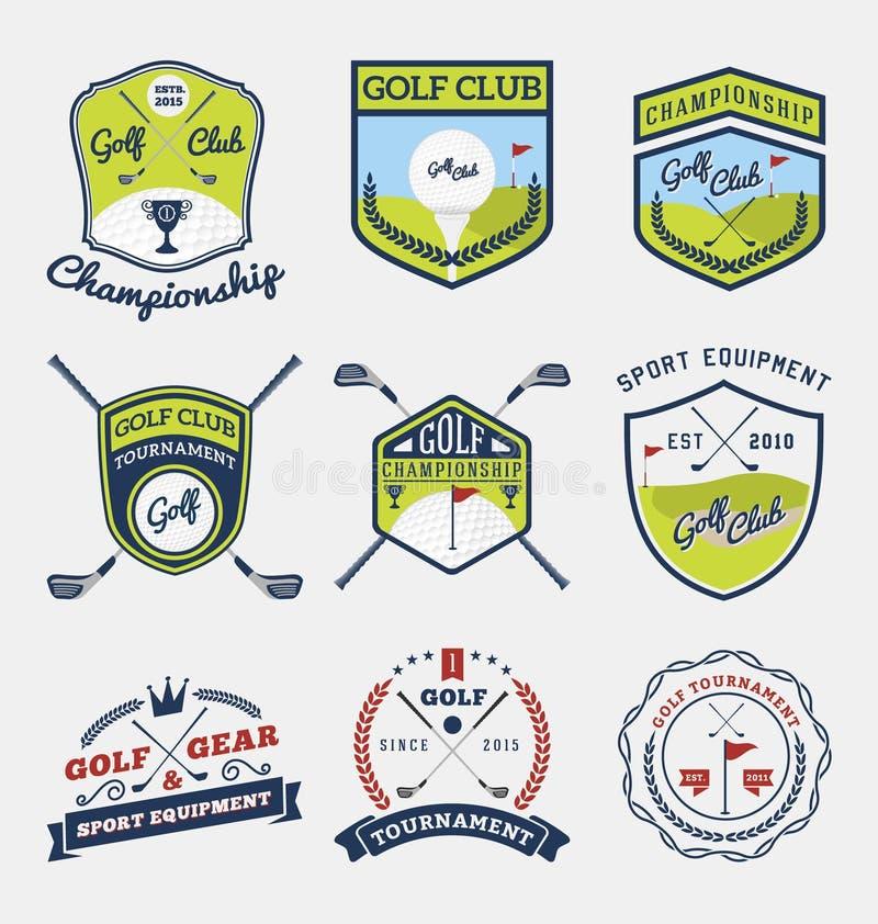 Set kij golfowy, golfowy mistrzostwo, golfowa przekładnia i wyposażenie odznaki logo, ilustracji