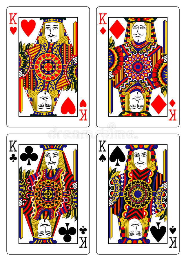 Set of kings playing cards 62x90 mm royalty free illustration