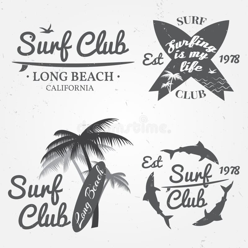 Set kipiel klubu pojęcia Wektorowy lato surfuje retro odznakę Surfingowa świetlicowy emblemat sztandar, outdoors, rocznika tło De ilustracji