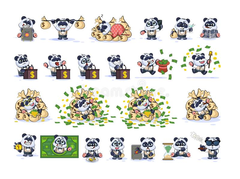 Set panda bear in business suit stickers emoticons vector illustration