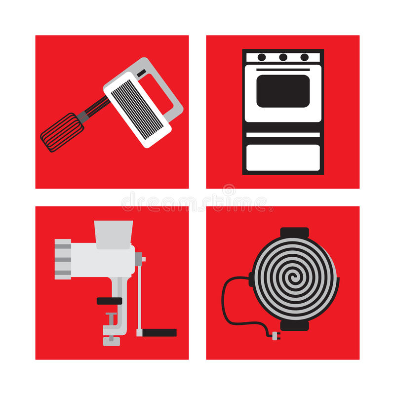 Set with kitchen appliances in retro style, mixer, meat grinder, gas stove, electric stove royalty free illustration