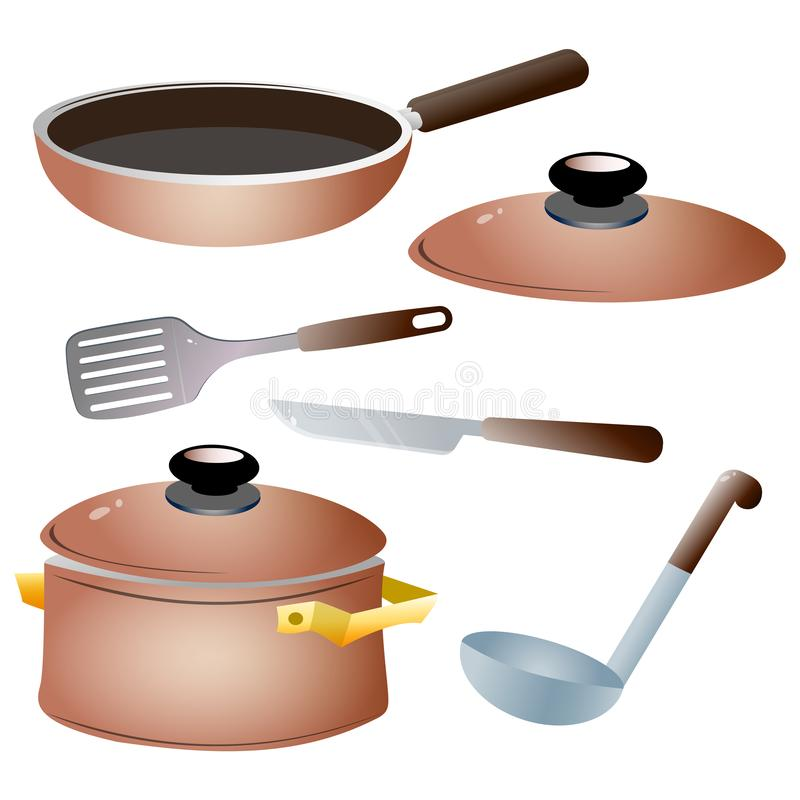 Set of kitchen dishes. Color images of pan, kettle, knife,  serving spoon and skillet on white background. Vector illustration.  vector illustration