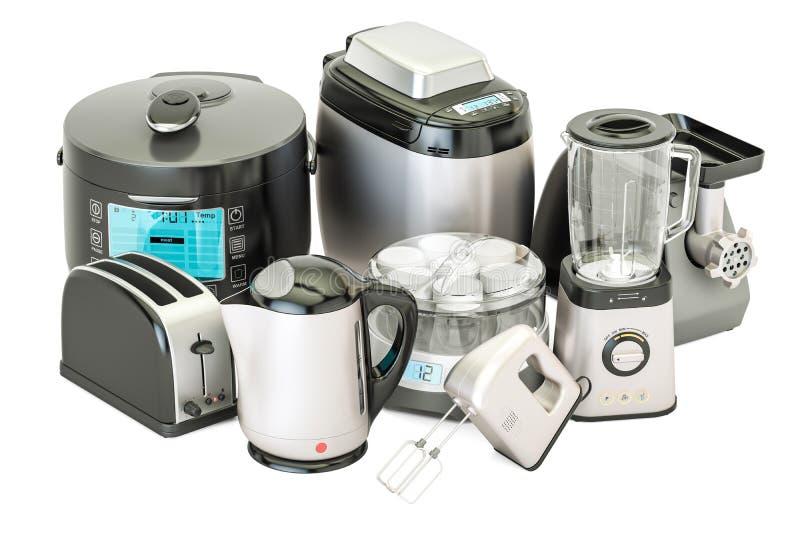 Set of kitchen home appliances. Toaster, kettle, mixer, blender, 'yogurt maker', multicooker, grinder, bread machine, 3D rendering. Set of kitchen home stock illustration