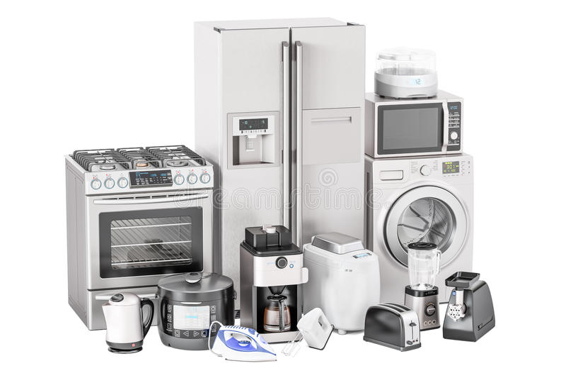 Set of kitchen home appliances. Toaster, washing machine, fridge. Iron, gas stove, kettle, mixer, blender, yogurt maker, multicooker, microwave oven, grinder stock illustration