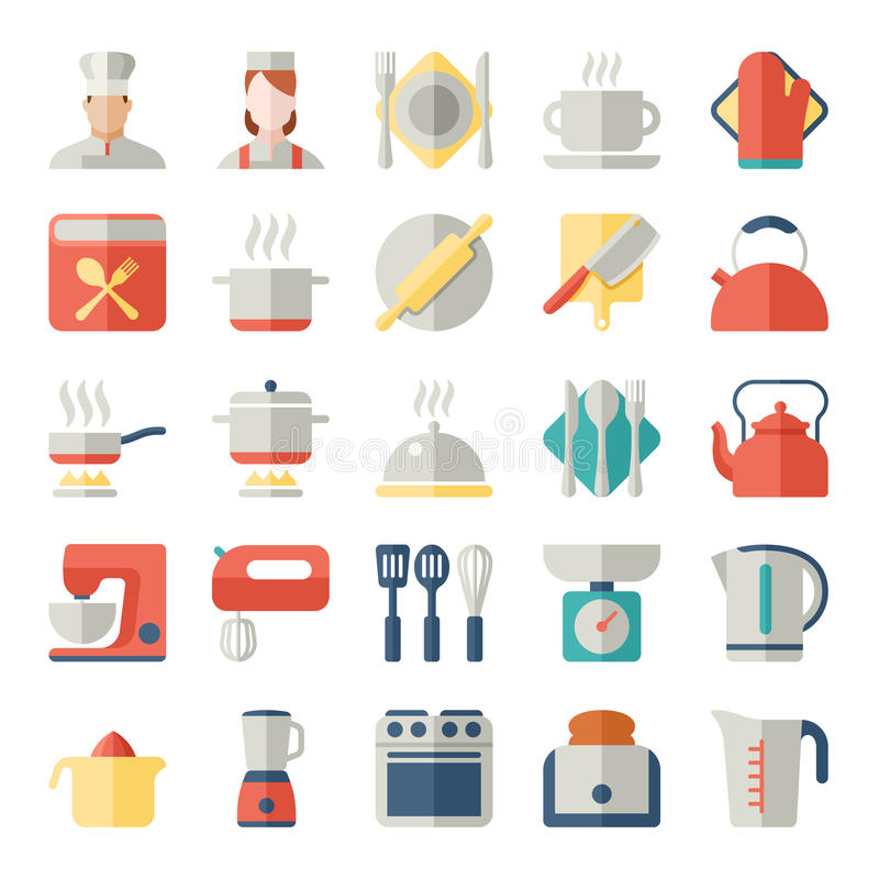 Download Set Of Kitchen Icons In Flat Design Stock Vector Illustration Of  Cooking Icon