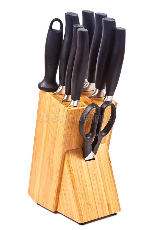 Set Of Kitchen Knives And Scissors Stock Photo