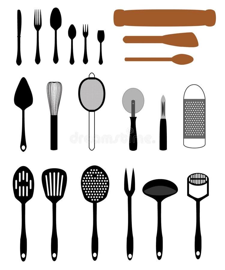 Download Set of Kitchen Utensils stock vector. Illustration of drain - 12367428
