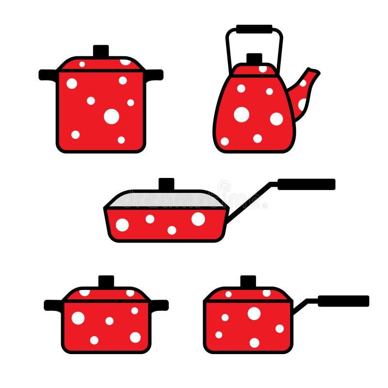 Set of kitchen utensils, frying pan, pots, kettle, vector illustration. Set of kitchen utensils, frying pan, pots, kettle in peas, vector illustration stock illustration