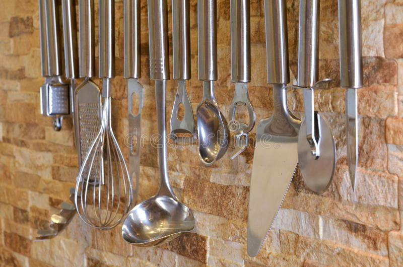 Download Set Of Kitchen Utensils Hanging On The Wall Stock Photo   Image Of  Culinary,