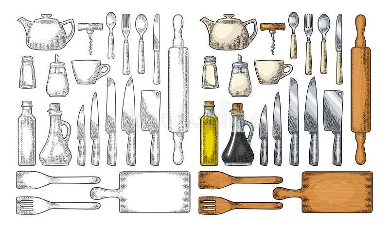 Set Kitchen utensils. Vector vintage engraving royalty free illustration