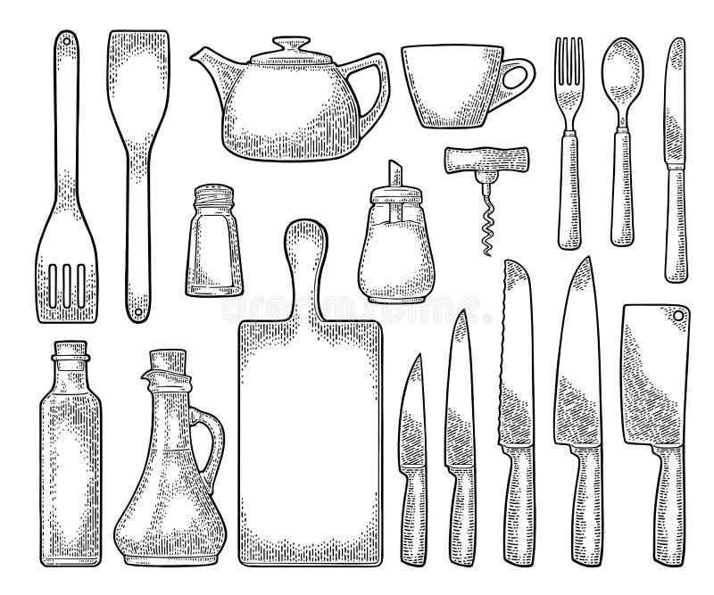 Set Kitchen utensils. Vector vintage engraving. Set kitchen utensils. Wood cutting board, manual grinder, spade of frying pan, knife, spoon, fork, bottle stock illustration