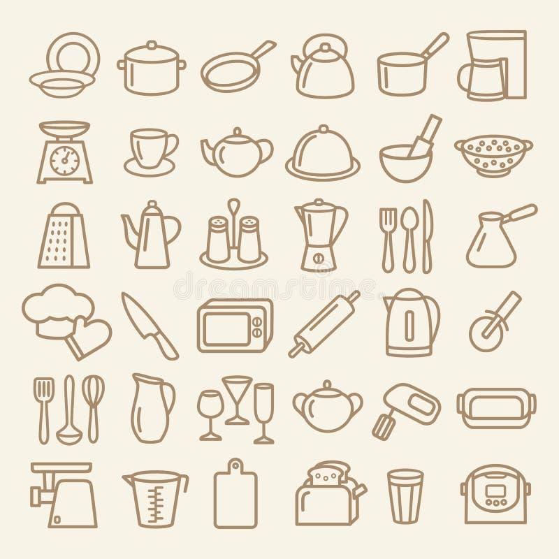 Set kitchenware linii ikony ilustracji