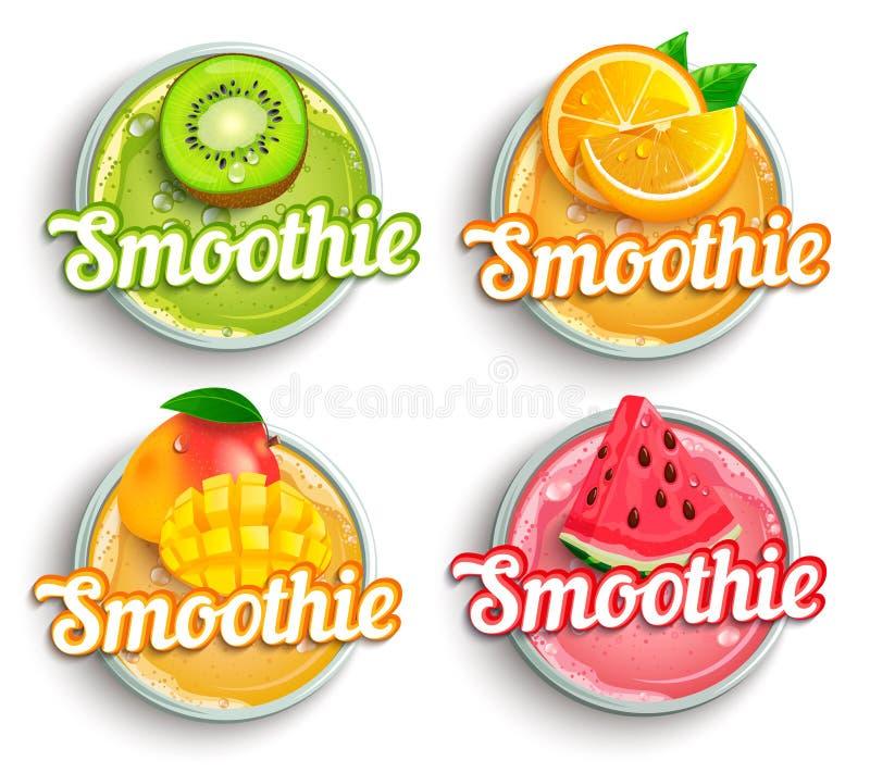 Set of kiwi, orange, mango and watermelon fresh smoothie logo. royalty free illustration
