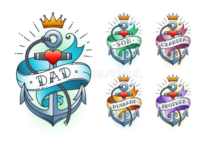 Set Klasyczna tatuaż kotwica z koroną, sercem i faborkiem z słowami, zdjęcie royalty free