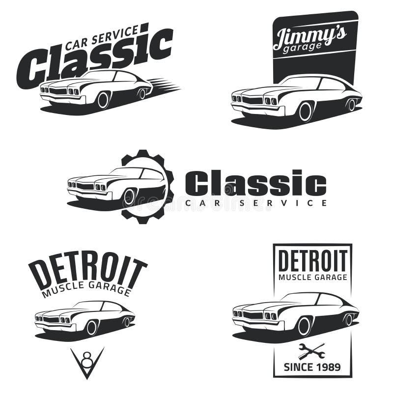 Set klasycznego mięśnia samochodowi emblematy, odznaki i ikony, royalty ilustracja
