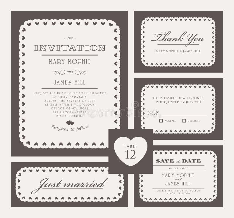 Set klasyczni ślubni zaproszenia ilustracji