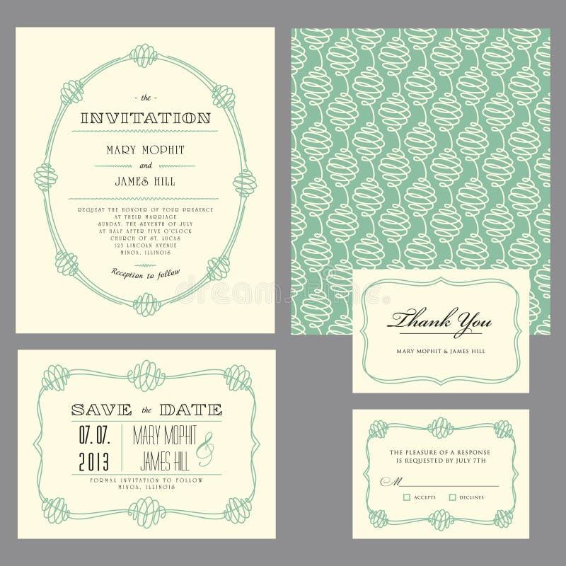 Set klasyczni ślubni zaproszenia royalty ilustracja
