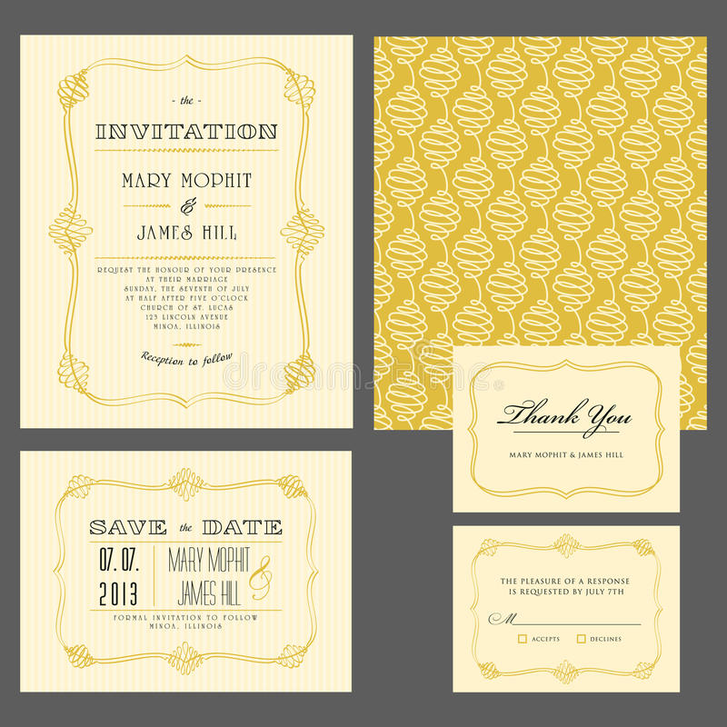 Set klasyczni ślubni zaproszenia ilustracja wektor