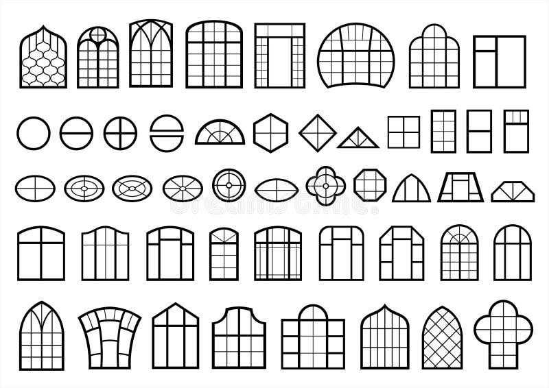Set klasyczni i nowożytni okno royalty ilustracja