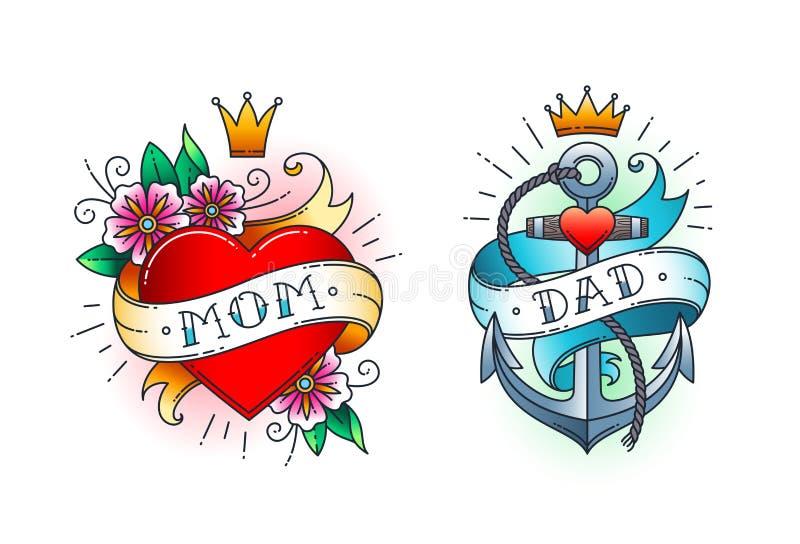 Set Klasyczny tatuaż - serce z kwiatami i słowo mamą na faborku Zakotwicza z arkaną i faborkiem z słowem - tata ilustracja wektor