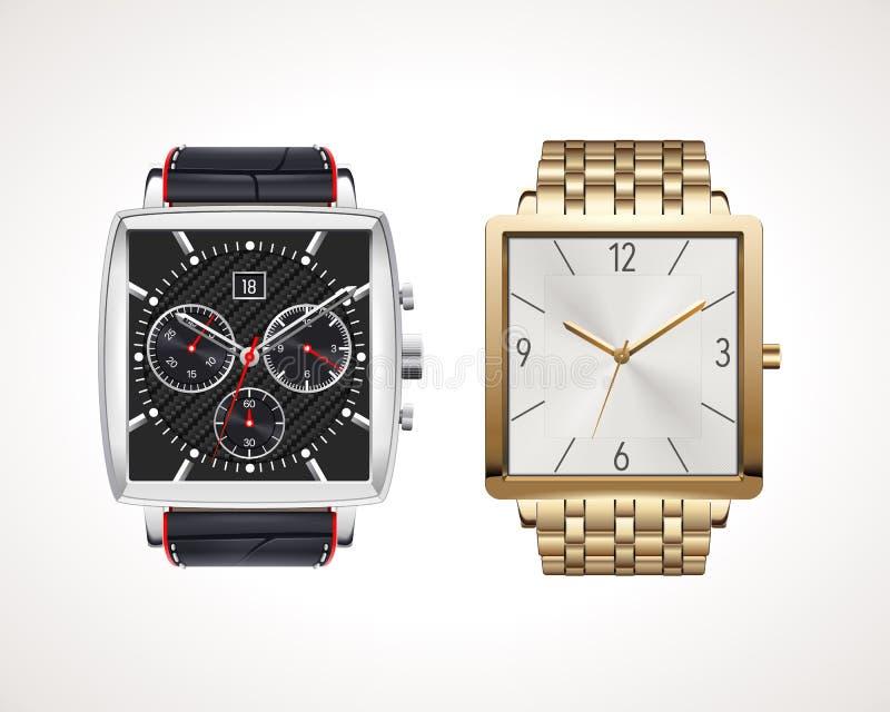 Set klasycznych i nowożytnych mężczyzna zegarki royalty ilustracja