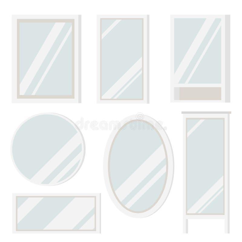 Set klingerytów luster rama różnorodni kształty: round, kwadrat, owal, prostokątny, podłoga z półkami i ilustracji