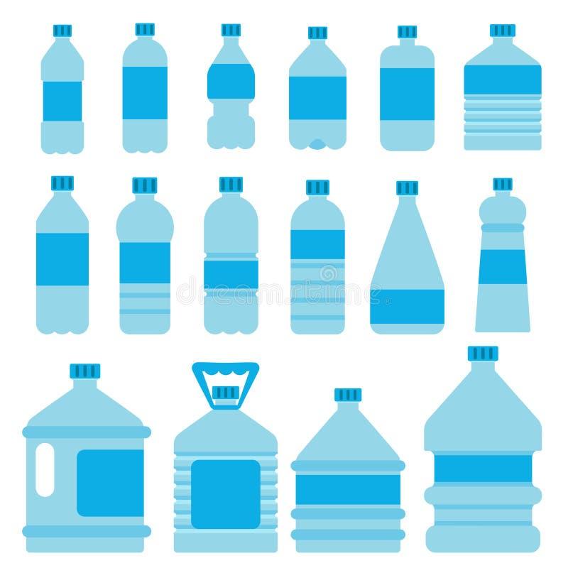 Set klingeryt butelki dla wody Wektorowi obrazki w mieszkanie stylu ilustracji