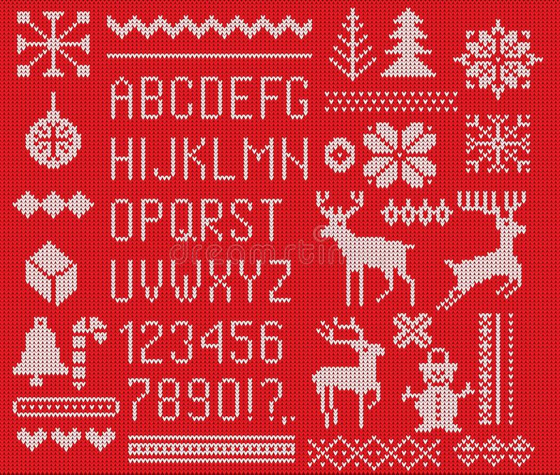 Set of knitted font, elements and borders for Christmas, New Year or winter design. Ugly sweater style. Sweater ornaments for scan vector illustration