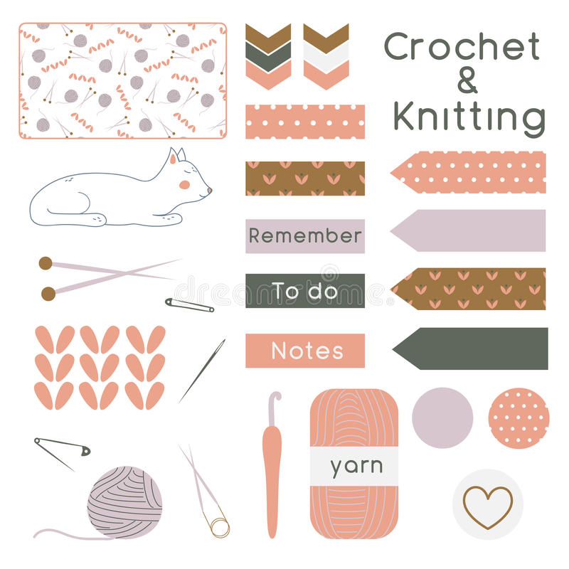 Set of Knitting and Crochet Tools and Instruments with Planner E royalty free illustration